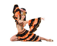Ein kaukasisches Frauensamba-Tänzertanzen lokalisiert auf Weiß in voller Länge Stockbilder
