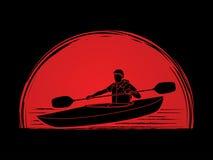 Ein Kayak fahrender Mann Lizenzfreie Stockfotografie