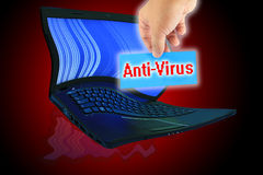 Ein Kennsatz, zum des Wortes ?Antivirus? zu schreiben. Lizenzfreie Stockbilder