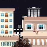Ein Kerl hört Musik und trinkt auf dem Dach eines hohen Gebäudes genießt den Moment auf der Suche nach Inspiration mit Lizenzfreie Stockfotos