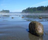 Ein Kiesel auf dem karminroten Strand Stockbilder