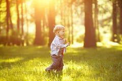 Ein Kind bei Sonnenuntergang, Rücklicht Kind auf der Wiese im Park Th Lizenzfreie Stockfotografie