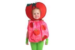 Ein Kind im Gemüsekostüm Stockfotos