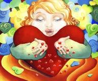Ein Kind mit einem großen Herzen gibt Küsse und drückt ihre Liebe und Neigung aus Lizenzfreies Stockbild