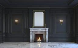 Ein klassischer Innenraum ist in den dunklen Tönen mit Kamin Wiedergabe 3d Stockbilder
