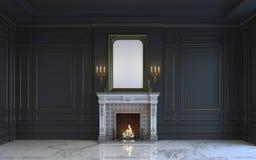 Ein klassischer Innenraum ist in den dunklen Tönen mit Kamin Wiedergabe 3d Lizenzfreie Stockbilder