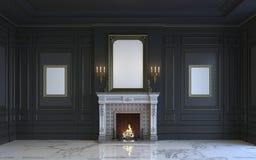 Ein klassischer Innenraum ist in den dunklen Tönen mit Kamin Wiedergabe 3d Lizenzfreie Stockfotografie