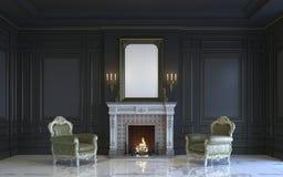 Ein klassischer Innenraum ist in den dunklen Tönen mit Kamin Wiedergabe 3d Stockfotos