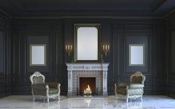 Ein klassischer Innenraum ist in den dunklen Tönen mit Kamin Wiedergabe 3d Lizenzfreie Stockfotos
