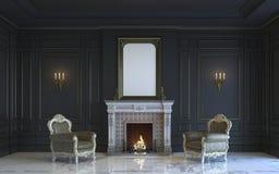 Ein klassischer Innenraum ist in den dunklen Tönen mit Kamin Wiedergabe 3d Stockbild