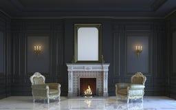 Ein klassischer Innenraum ist in den dunklen Tönen mit Kamin Wiedergabe 3d Stockfoto