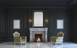 Ein klassischer Innenraum ist in den dunklen Tönen mit Kamin Wiedergabe 3d Stockfotografie