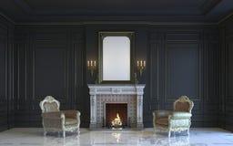 Ein klassischer Innenraum ist in den dunklen Tönen mit Kamin Wiedergabe 3d Lizenzfreies Stockbild
