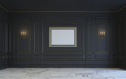 Ein klassischer Innenraum ist in den dunklen Tönen Wiedergabe 3d Stockbilder