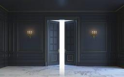 Ein klassischer Innenraum ist in den dunklen Tönen Wiedergabe 3d Stockfotografie