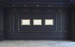 Ein klassischer Innenraum ist in den dunklen Tönen Wiedergabe 3d Lizenzfreies Stockfoto