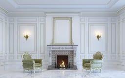 Ein klassischer Innenraum ist in den hellen Tönen mit Kamin 3d übertragen Stockfotos