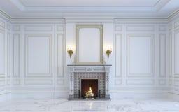 Ein klassischer Innenraum ist in den hellen Tönen mit Kamin Wiedergabe 3d Lizenzfreie Stockfotografie