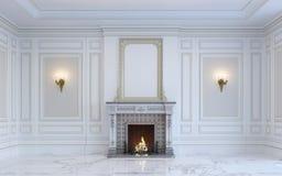 Ein klassischer Innenraum ist in den hellen Tönen mit Kamin Wiedergabe 3d Lizenzfreies Stockbild