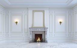 Ein klassischer Innenraum ist in den hellen Tönen mit Kamin Wiedergabe 3d Lizenzfreie Stockfotos