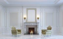 Ein klassischer Innenraum ist in den hellen Tönen mit Kamin Wiedergabe 3d Stockbilder