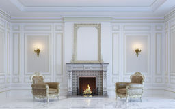 Ein klassischer Innenraum ist in den hellen Tönen mit Kamin Wiedergabe 3d Lizenzfreies Stockfoto