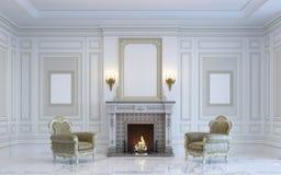 Ein klassischer Innenraum ist in den hellen Tönen mit Kamin Wiedergabe 3d Stockfoto
