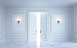 Ein klassischer Innenraum ist in den hellen Tönen Wiedergabe 3d Lizenzfreie Stockbilder