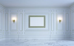 Ein klassischer Innenraum ist in den hellen Tönen Wiedergabe 3d Lizenzfreie Stockfotos
