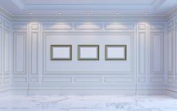 Ein klassischer Innenraum ist in den hellen Tönen Wiedergabe 3d Stockbild