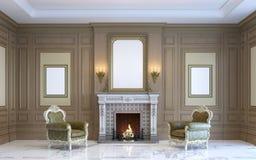 Ein klassischer Innenraum mit hölzerner Täfelung und Kamin 3d übertragen Stockfoto