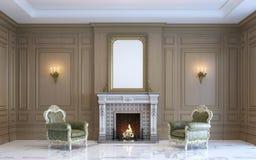 Ein klassischer Innenraum mit hölzerner Täfelung und Kamin 3d übertragen Stockbild
