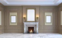 Ein klassischer Innenraum mit hölzerner Täfelung und Kamin Wiedergabe 3d Stockfotos