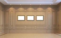 Ein klassischer Innenraum mit hölzerner Täfelung Wiedergabe 3d Stockfotografie