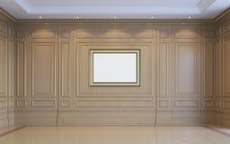 Ein klassischer Innenraum mit hölzerner Täfelung Wiedergabe 3d Lizenzfreies Stockfoto