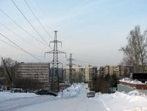Ein kleiner Bezirk in einer der russischen Städte Lizenzfreie Stockfotografie