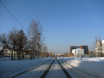 Ein kleiner Bezirk in einer der russischen Städte Lizenzfreie Stockfotos