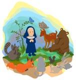 Ein kleiner Buddha predigt Wahrheit zu den Tieren in t Stockbild