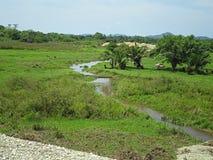 Ein kleiner Fluss über dem Bauernhof Stockbilder