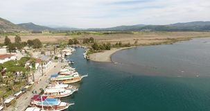 Ein kleiner Jachthafen in Anatolien, Akyaka die Türkei stock footage