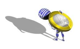 Ein kleiner Kerl 3d in der Griechenland-Markierungsfahne, die 1 Euro befördert Stockfoto