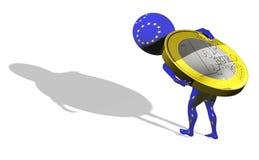 Ein kleiner Kerl 3d in der UE Markierungsfahne, die 1 Euro befördert Stockfotografie