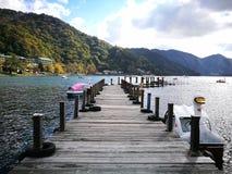 Ein kleiner Pier, der zu nirgendwo vorangeht Stockbild