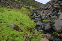 Ein kleiner Strom durch die Islandic moutains stockbild