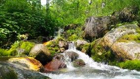 Ein kleiner Wasserfall auf dem sibirischen Fluss stock footage