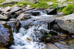 Ein kleiner Wasserfall im Wasserstrom lizenzfreies stockbild