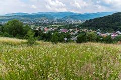 Ein kleines Dorf wird in alle Richtungen durch ein blühendes Feld, einen Wald und Berge eingehüllt Lizenzfreie Stockfotografie