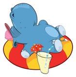 Ein kleines Flusspferd und ein aufblasbarer Schwimmring karikatur Stockfotografie