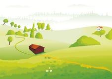 Ein kleines Haus in der Landschaft Lizenzfreies Stockfoto