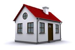 Ein kleines Haus mit rotem Dach Stockfoto